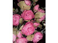 Artificial Dark Pink Peonies Roses x 15 used