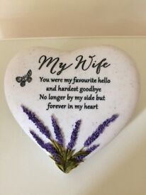 New heart memorial stone/grave ornament for my wife