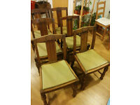 Antique wooden-leather chairs in good condition, set of 6