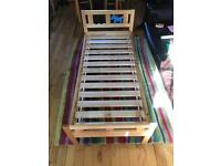 Child's bed with mattress, 76cmx106cm