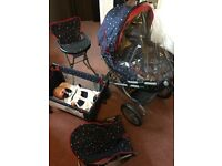 Silver Cross Doll's pram, doll, cot, high chair and rocker