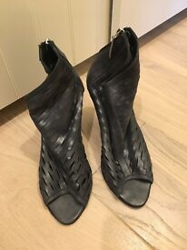 Prune Argentinean Genuine cowhide Leather peep toe ankle boots Size 40 / uk 7