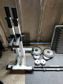 Adjustable stand squat rack, bar and weights