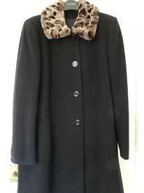 Gorgeous Black Wool 3/4 Length Coat with faux fur collar