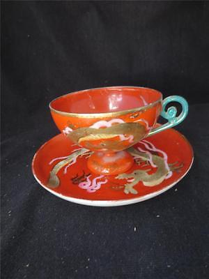 Vintage Japanese Gold Dragon Footed Cup & Saucer Red Signed Hand Painted
