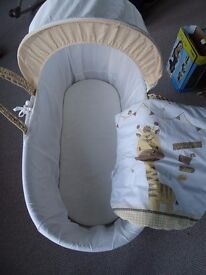 Good Condition Moses Basket with Stand and Cover