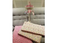 Norwegian wood bumper x2, coverlet and musical cot mobile.