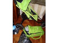 PHIL AND TEDS DOUBLE PRAM / STROLLER / CARRY COT AS NEW WITH RAIN COVERS ETC COST £425 BARGAIN £60