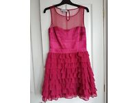 Monsoon magenta satin cocktail party dress size 12
