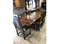 SOLID OAK REFECTORY DINING TABLE BY ROYAL OAK