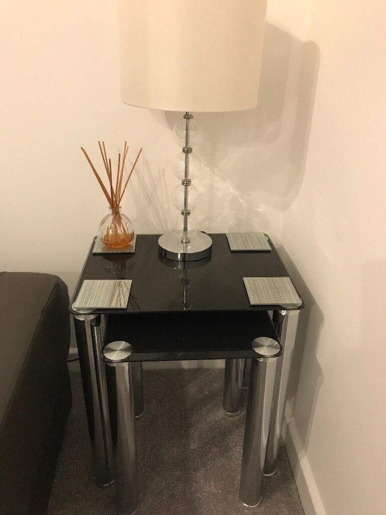 Excellent Condition Black Glass Nest of Tables with Chrome Legs