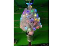 2ft Christmas Xmas Fibre Optic Led Tree Decoration White Light Ornaments Lights 60cm Star Flashing