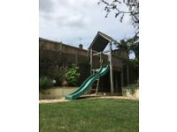 Climbing Frame for small garden - Wooden with slide, climbing wall, sandpit, high quality in VGC