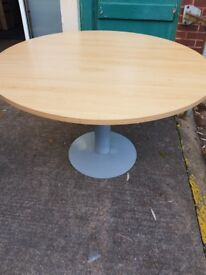 round wood effect office meeting table 1200mm sit 5;6 people