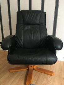 Large Black Leather Arm Chair