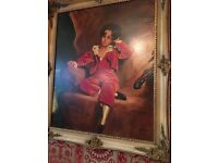 Red boy painting framed