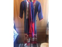 BLUE AND RED INDIAN OUTFIT (SIZE 6-8 UK)
