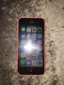 iPhone 5c, 8gb, pink on 3 comes with box and charger
