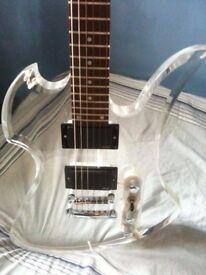 B.C. Rich Ice Acrylic Mockingbird Electric Guitar w/EMG 81/85 pickups