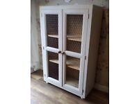 Solid pine shabby chic linen / pantry / larder display cabinet