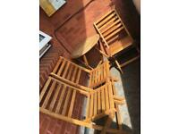 Garden or balcony furniture table and 3 chairs