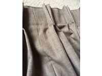 Brown/bark pinch pleat handmade lined curtains