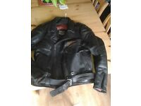Leather biker jacket for quick sale.