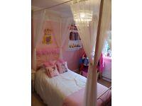 Beautiful girls princess single hand made four poster single bed