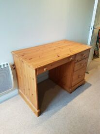 Pine Desk - 3 Drawers - Good Condition