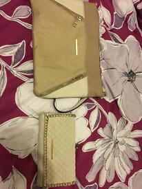 River island cream and gold shoulder bag with matching purse