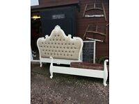 New King Size French Style Bed with Upholstered Headboard Delivery Available