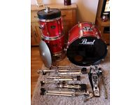 FOR SALE!!! PEARL EXPORT DRUM KIT! Red Sparkle finish!