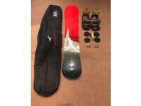 Snowboard bindings and bag