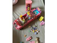 Polly pocket ,stretch limo ,figures and more