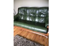 Green leather sofa and 2 armchairs