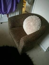 Leopard print tub chair