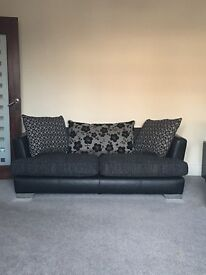 DFS two seater sofa black/ grey