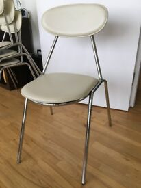 Set of 4 dining chair, leather with chrome legs