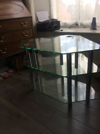 Designer contemporary glass and stainless steel TV stand