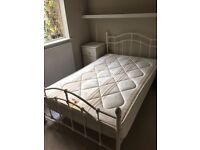 BED DOUBLE IRON FRAME WITH ORTHOPAEDIC MATTRESS. DAVID PHILLIPS GOOD CONDITION FREE LOCAL DELIVERY.