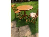 Solid pine table & 2 chairs