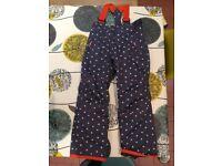 Girls Boden ski trousers/salopettes size 7-8yrs