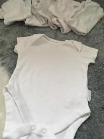 Neutral baby vests 0-3m bundle