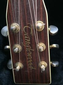 Tanglewood jumbo electro acoustic guitar. Stainless steel first 4 frets. Good working order.