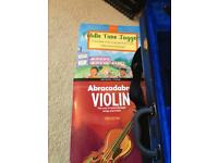 3/4 Stentor Violin with books and chin support