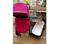 💖💜 Silver Cross Wayfarer in Pink with Seat Unit and Carrycot 💜💖