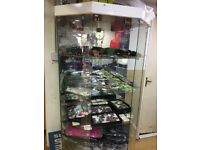GLASS CABINET DISPLAY SHOWROOM MOBILE JEWELLERY WATCHES SHOP UNIT MIRROR GLASS USED LIGHTS LIGHTING