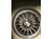 Four Mercedes alloys plus continental tyres 225/40x18 winter tyres like new , ideal for A45 amg