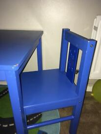 Blue child's table and chair