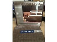 New Sheridan Super King Quilt/Duvet Cover in Brown Suede and 2 matching Pillows